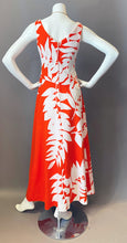 Load image into Gallery viewer, Vintage Malia Orange and White Maxi Dress