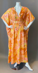 O'pell Orange Hawaiian Hibiscus Watercolor Long Torso Caftan