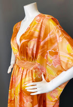 Load image into Gallery viewer, O'pell Orange Hawaiian Hibiscus Watercolor Long Torso Caftan