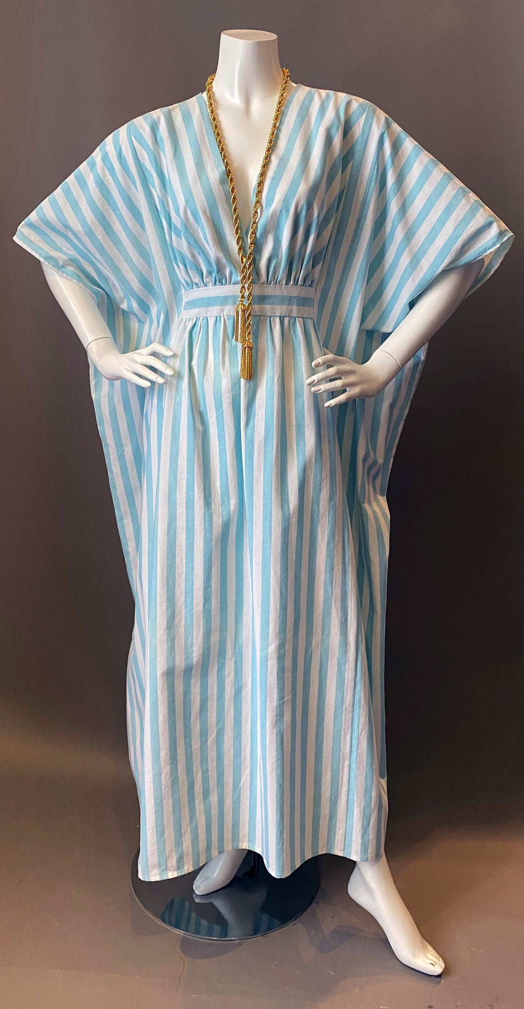 O'pell Striped Blue Long Torso Caftan