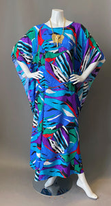 1980s David Brown Bold Print Tunic Caftan