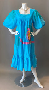 1980s Ramona Rull Applique Parrot Tunic Sun Dress