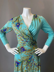 Amazing Peacock Print Cocktail Maxi Dress