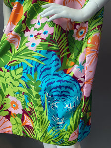 O'pell Stunning Blue Tiger Jungle Print Short Caftan