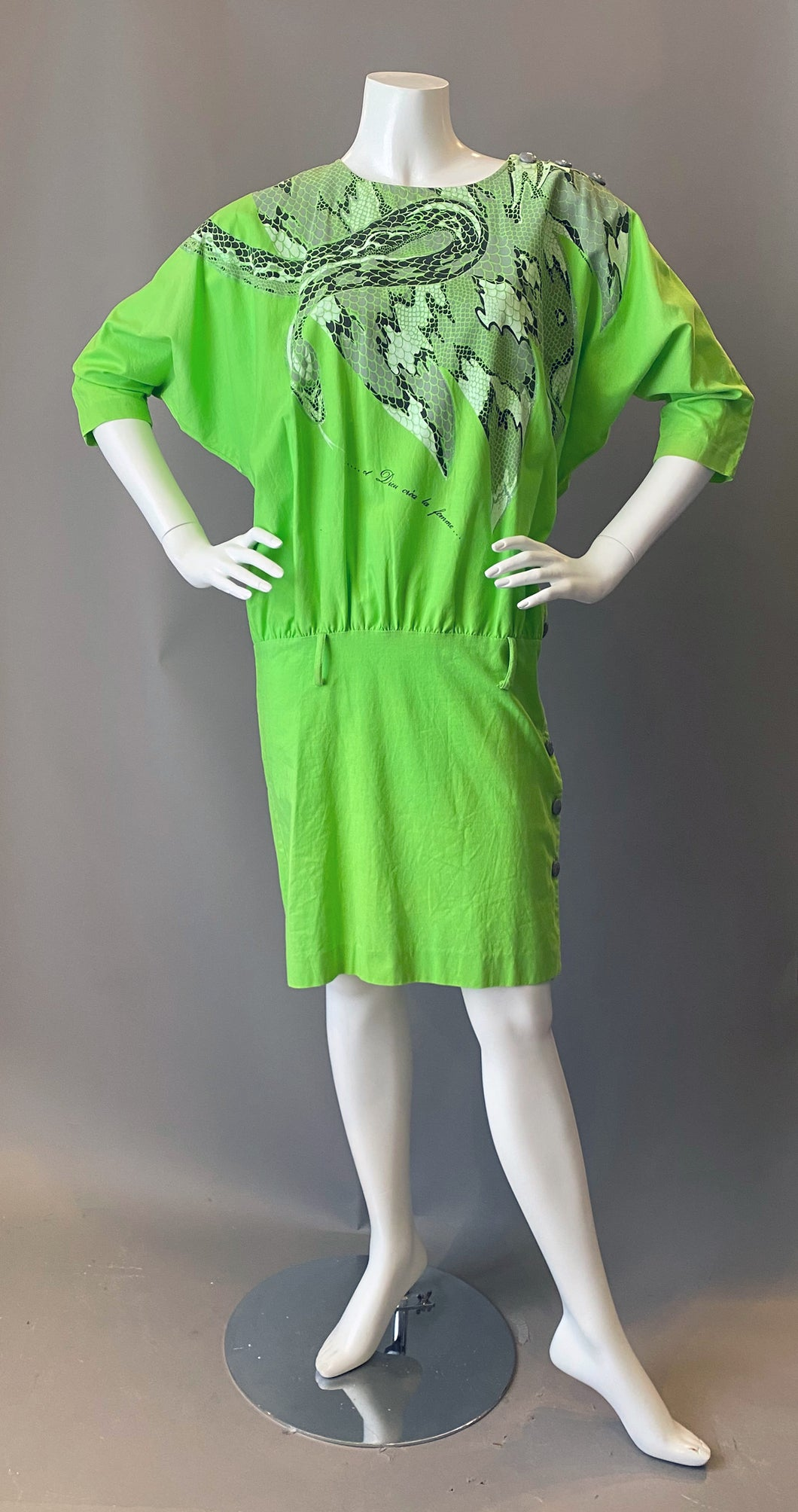 Vintage 1980s And God Created Woman Snake Print Dress