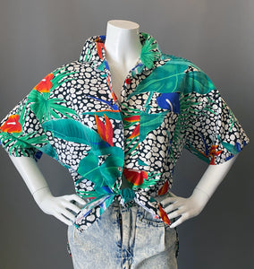 Vintage 1980s Floral Animal Print Tunic Blouse