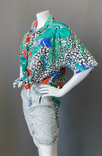 Load image into Gallery viewer, Vintage 1980s Floral Animal Print Tunic Blouse