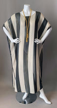 Load image into Gallery viewer, O'pell Sheer Cream Black Striped Gold Shimmer Tunic Caftan