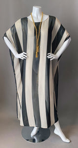 O'pell Sheer Cream Black Striped Gold Shimmer Tunic Caftan