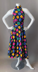 Vintage 80s AJ Bari Colorful Polka Dot Sun Dress