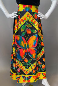 Mod Technicolor Butterlfy Print Maxi Skirt