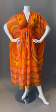 Load image into Gallery viewer, O'pell Orange Floral Sheer Poolside Short Torso Caftan