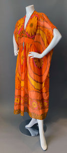 O'pell Orange Floral Sheer Poolside Short Torso Caftan