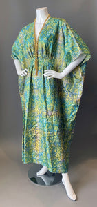 O'pell Chic Mod Printed Acetate Long Torso Caftan and Matching Mask