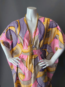 O'pell Mod Swirl Print Long Torso Caftan with Matching Mask