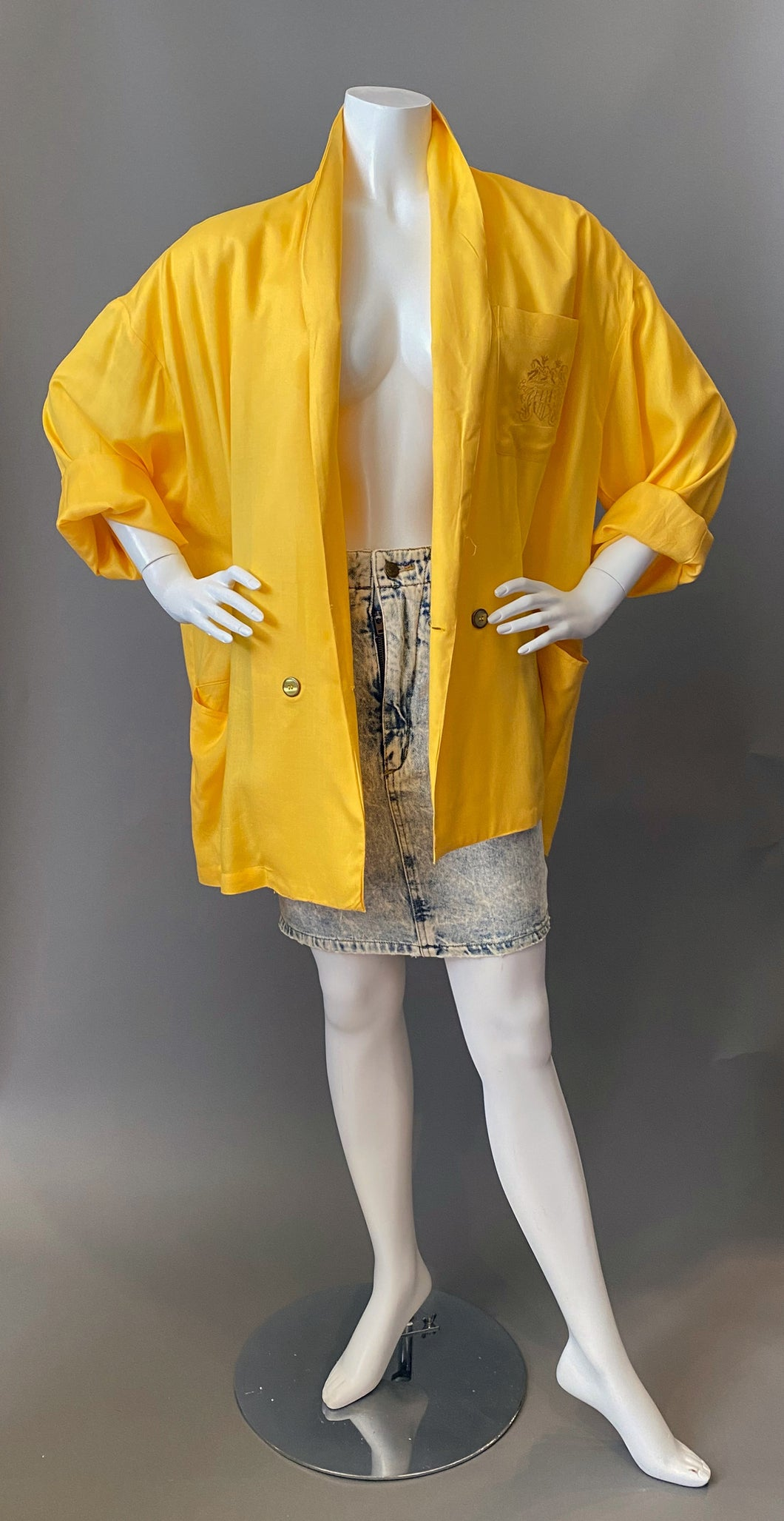 1980s Yellow Oversize Lightweight Blazer Coat NWT