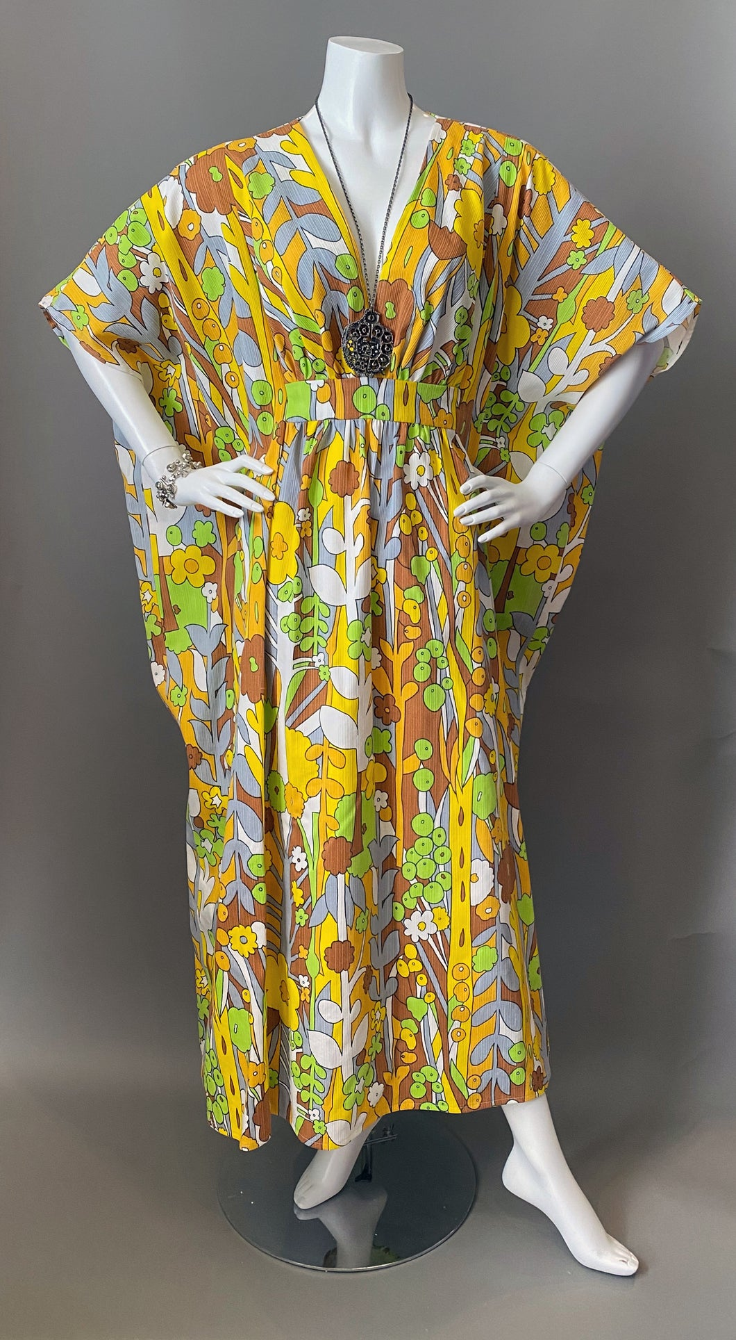 O'pell Happy Sunny Day Mod Print Cotton Caftan