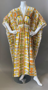 O'pell Mod Op Art Print Long Torso Caftan and Matching Mask