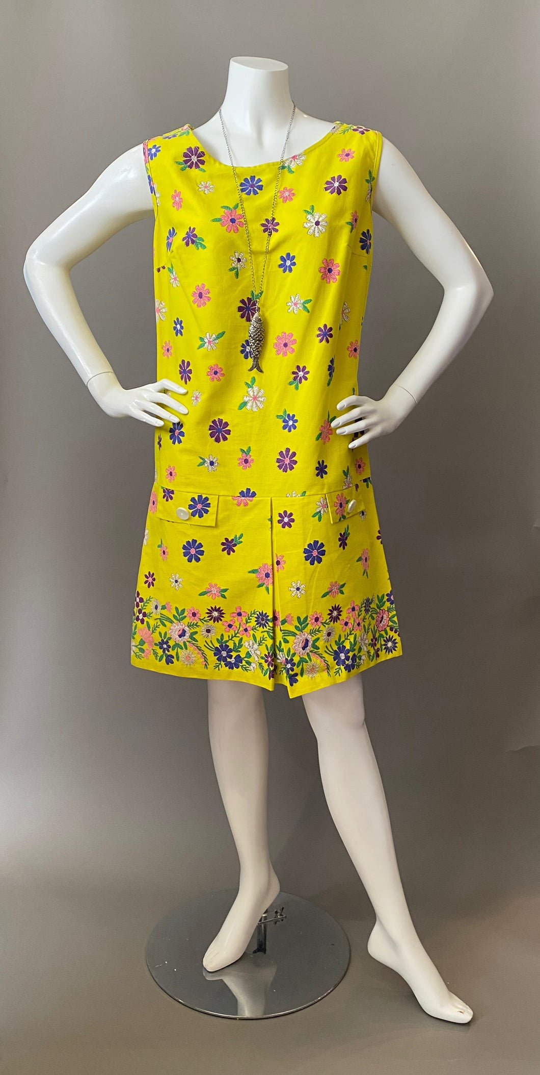 Mod Sunny Floral Border Print Cotton Sun Dress