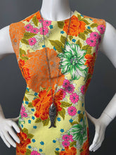 Load image into Gallery viewer, Mod Orange Gold Mums Print Cotton Sun Dress