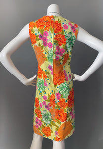 Mod Orange Gold Mums Print Cotton Sun Dress