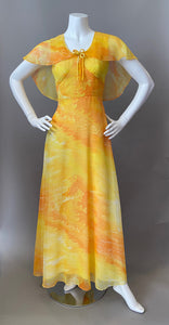 1970s Ocean Orange Chiffon Cocktail Maxi Gown