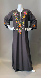 Vintage Bohemian Brown Embroidery Floral Tunic Caftan