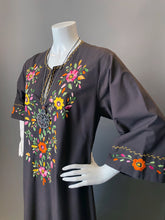 Load image into Gallery viewer, Vintage Bohemian Brown Embroidery Floral Tunic Caftan
