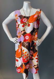 Vintage Mod Hawaiian Brown Orange Cotton Sun Dress