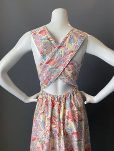Vintage 80s Halter Crisscross Pink Floral Cotton Sun Dress