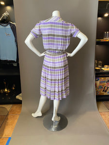 Vintage 80s Louis Feraud Striped Secretary Dress