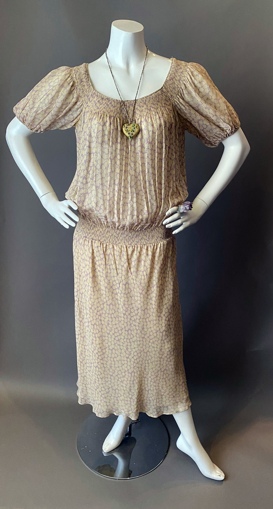 Vintage 70s Bohemian Sheer Floral Anne Klein Dress
