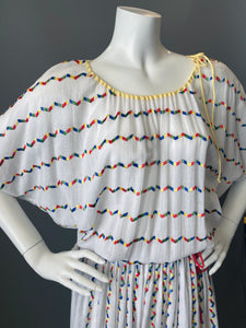 Vintage 80s Giorgio Sant'Angelo Rainbow Embroidery Sun Dress