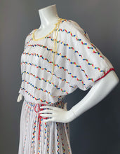 Load image into Gallery viewer, Vintage 80s Giorgio Sant'Angelo Rainbow Embroidery Sun Dress
