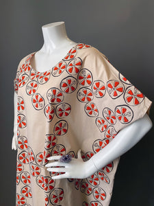 O'pell Mod Lotus Root Print Cotton Tunic Caftan
