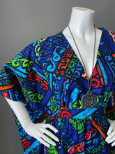 Load image into Gallery viewer, O'pell Mod Ocean Blue Hawaiian Barkcloth Caftan with Matching Mask