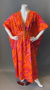 O'pell Mod Orange Op Art Print Long Torso Caftan with Matching Mask
