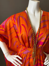 Load image into Gallery viewer, O'pell Mod Orange Op Art Print Long Torso Caftan with Matching Mask