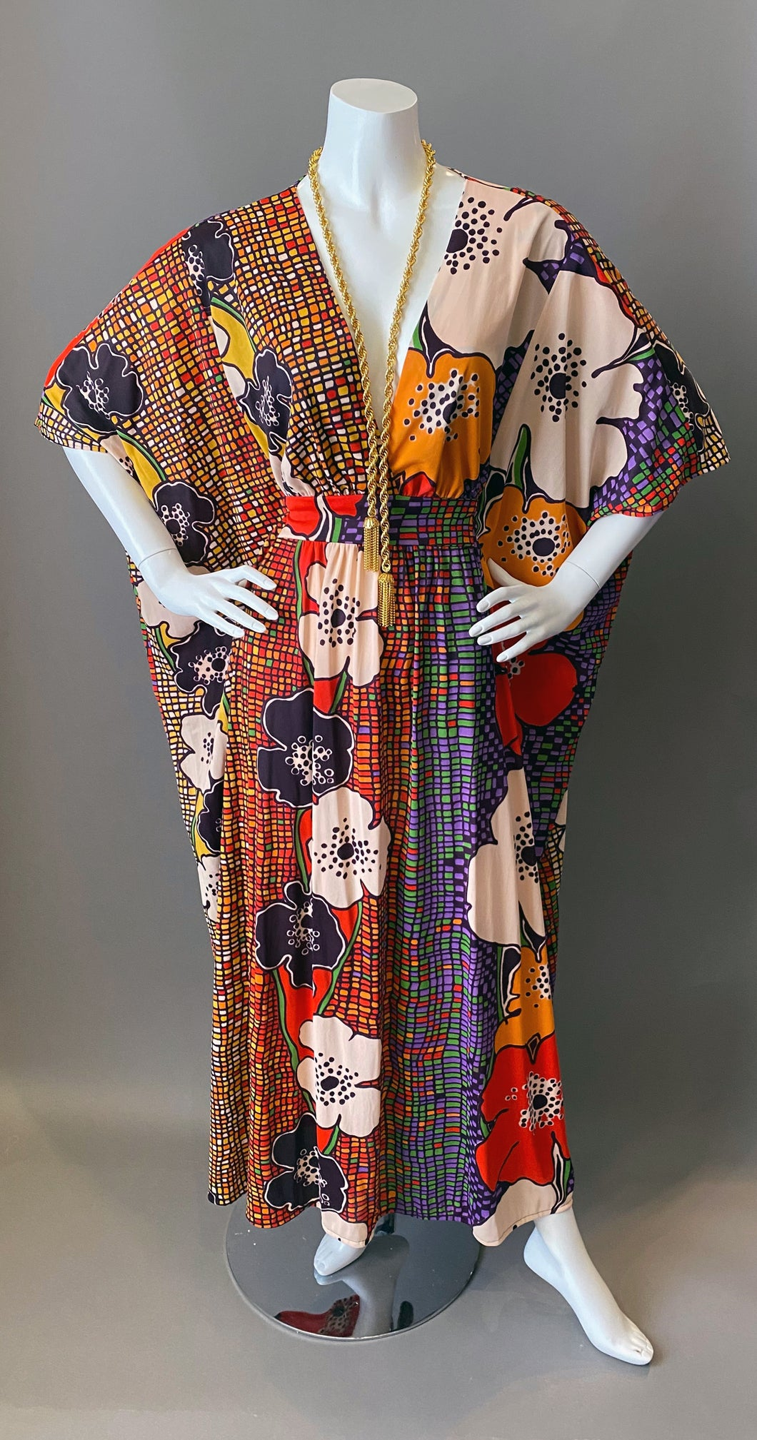 O'pell Amazing Mod Floral Long Torso Caftan with Matching Mask