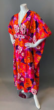 Load image into Gallery viewer, O'pell Mod Pink Floral Hawaiian Long Torso Caftan and Matching Mask