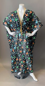 O'pell Mod Sheer Floral Long Torso Caftan with Matching Mask