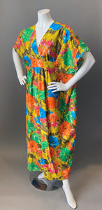 O'pell Mod Floral Cotton Short Torso Petite Caftan and Matching Mask