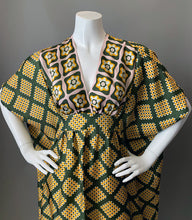 Load image into Gallery viewer, O'pell Mod Border Print Acetate Short Torso Caftan and Matching Mask
