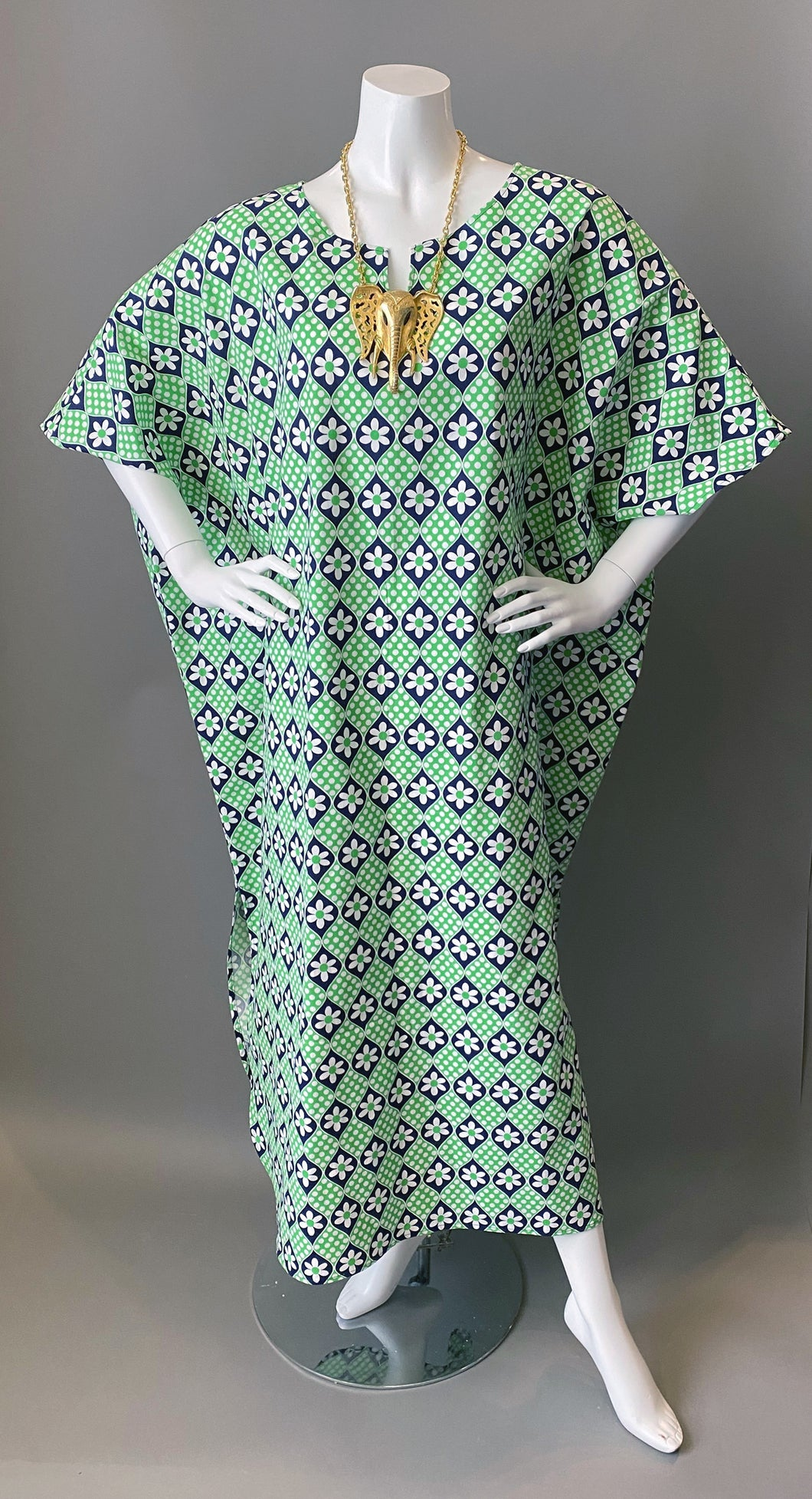 O'pell Mod Green Blue Polka Dot Floral Cotton Tunic Caftan