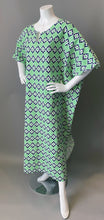 Load image into Gallery viewer, O'pell Mod Green Blue Polka Dot Floral Cotton Tunic Caftan