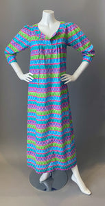 Vintage 70s 80s Cotton Print Tunic Maxi Caftan Dress