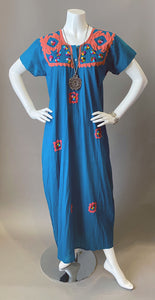 Vintage Bohemian Ethnic Applique Cotton Tunic Dress Caftan