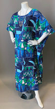 Load image into Gallery viewer, O'pell Hawaiian Tiki Mod Aqua Print Tunic Caftan