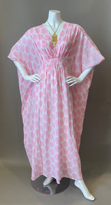 O'pell New Pink Leaf Print Sheer Cotton Short Torso Caftan