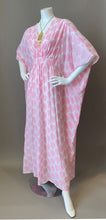 Load image into Gallery viewer, O'pell New Pink Leaf Print Sheer Cotton Short Torso Caftan